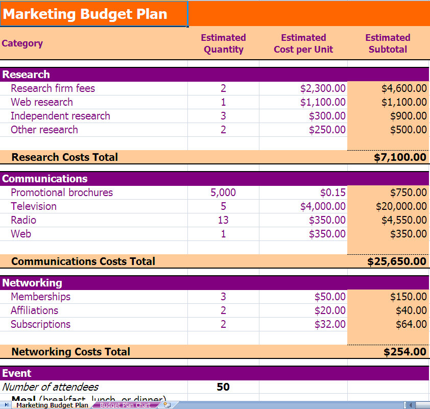Budget plan template budget plan for Hospital marketing plan template